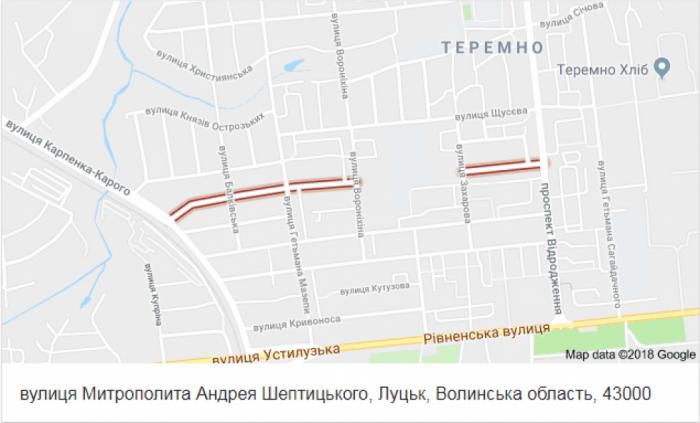 Вулиця Митрополита Шептицького на карті