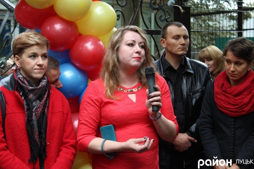 Директор комунального підприємства «Луцький зоопарк» Людмила Денисенко говорить вітальне слово
