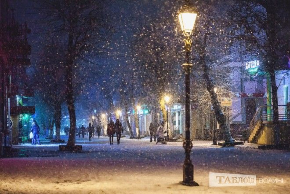 Засніжена вулиця міста Луцька