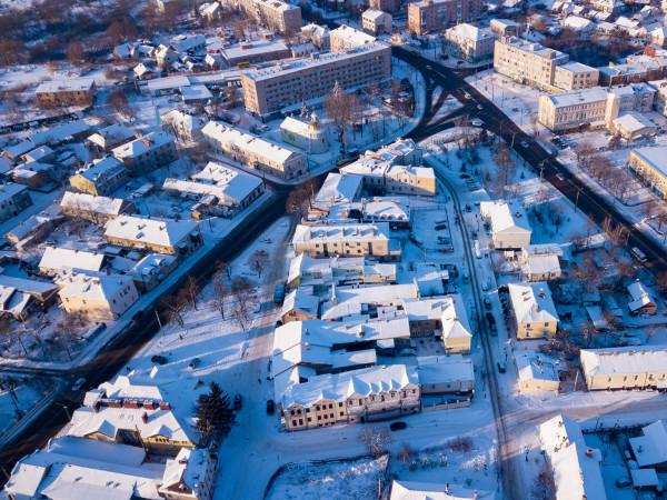 Луцьк під снігом: вигляд з висоти
