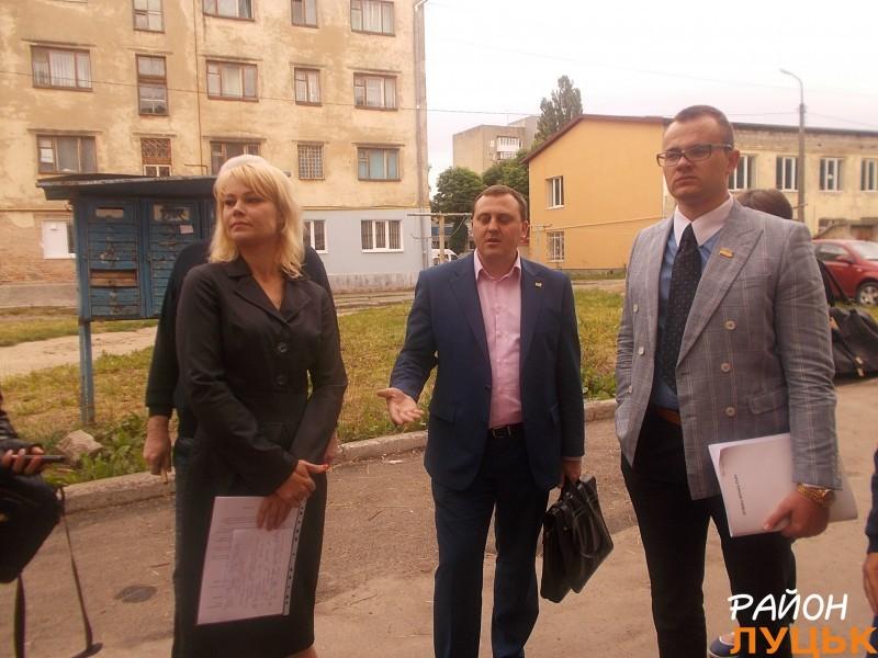 Луцькі депутати Олена Голєва, Андрій Осіпов та Ігор Поліщук