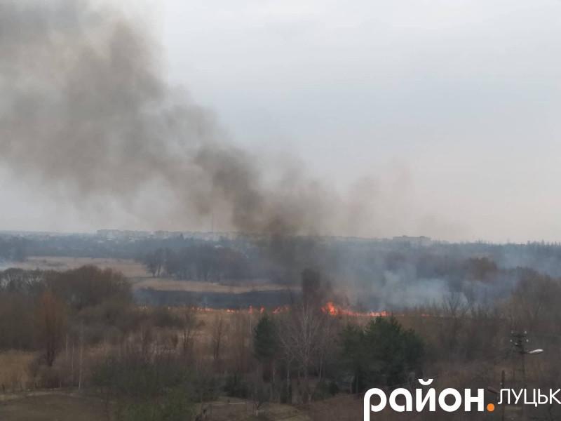Пожежа на березі Стиру в Луцьку