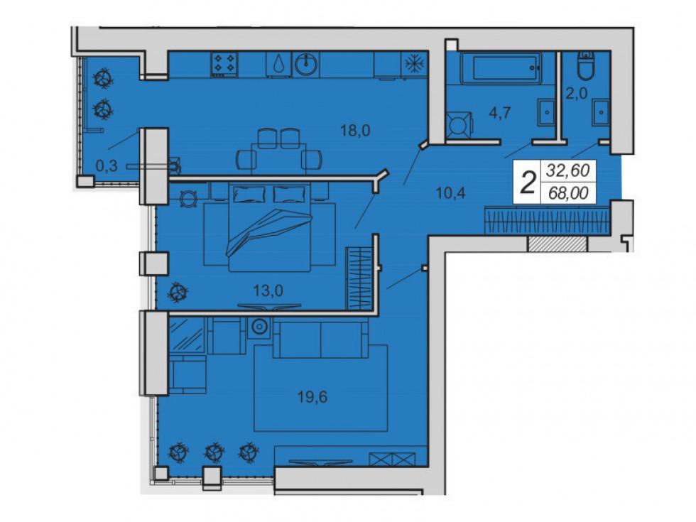 План двокімнатної квартири у ЖК «Супернова»