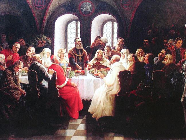 Елемент картини «Вітовт Великий на конгресі в Луцьку». Йонас Мацкявічус, 1934
