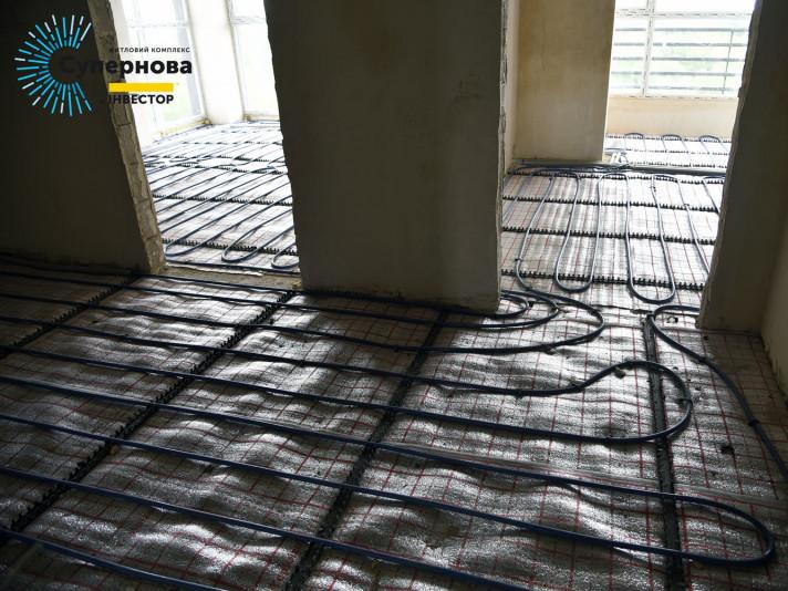 Монтаж теплої підлоги у четвертому будинку ЖК «Супернова»