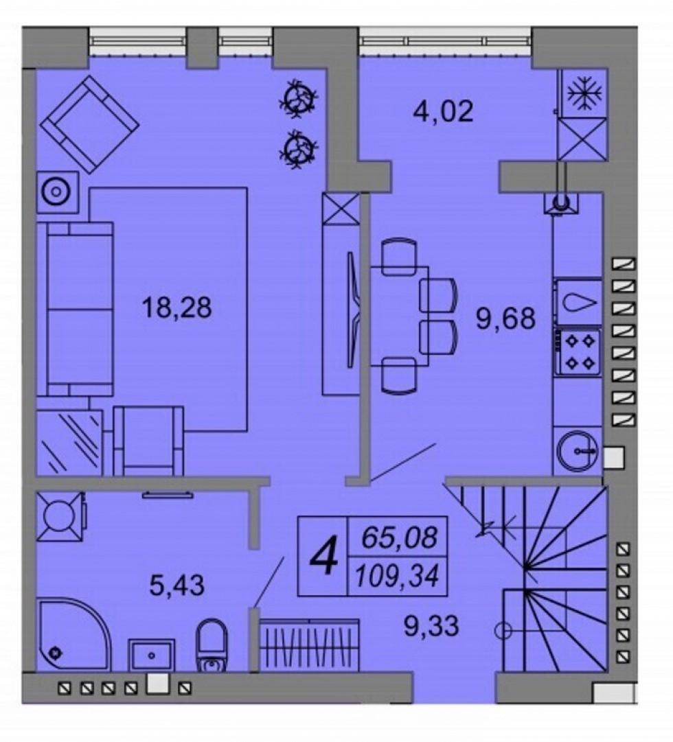Планування квартири на 109,34 кв.м. (перший поверх)