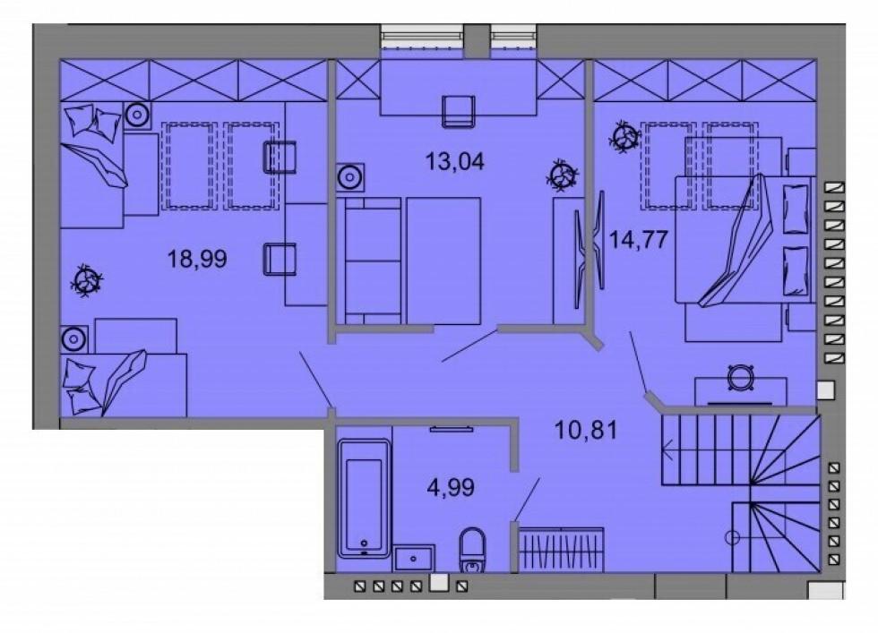 Планування квартири на 109,34 кв.м. (другий поверх)