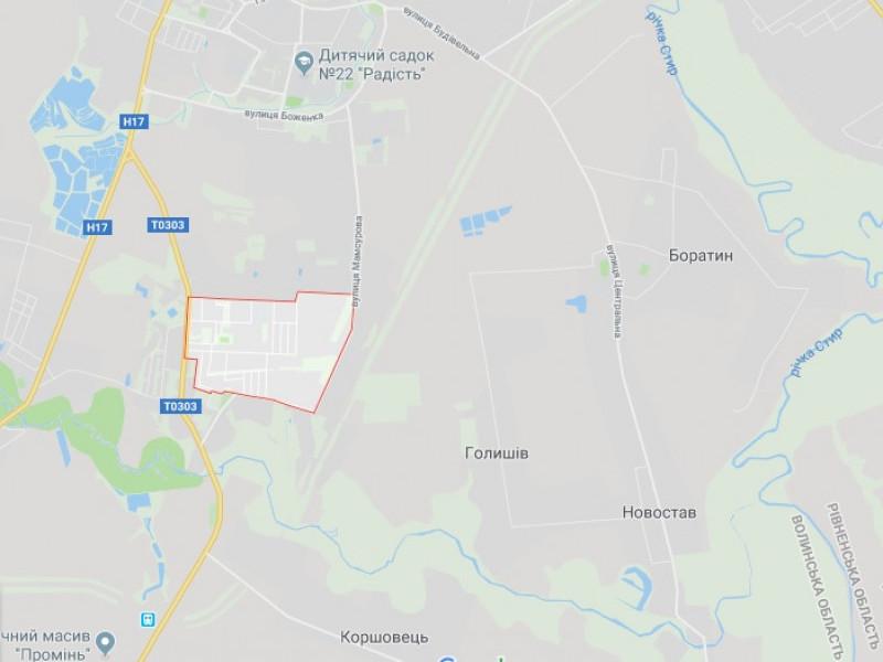 Червоними лініями обведений мікрорайон Вересневе, Боратин - у правій частині мапи