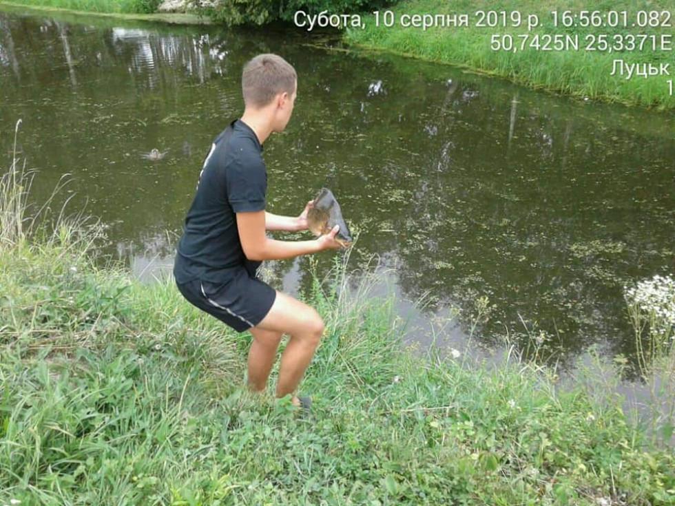 Хлопець відпускає рибу назад у водойму