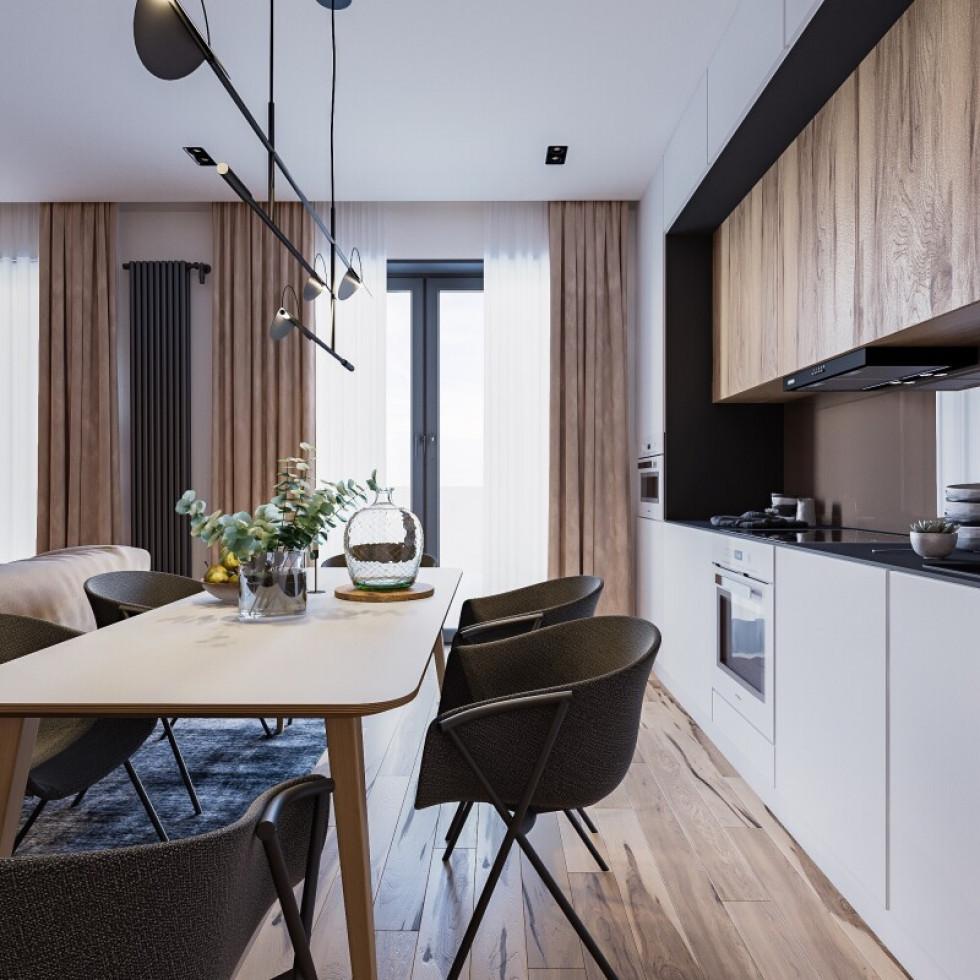 Приклад дизайну кухні в таунхаусі в ЖК «Струмочок»