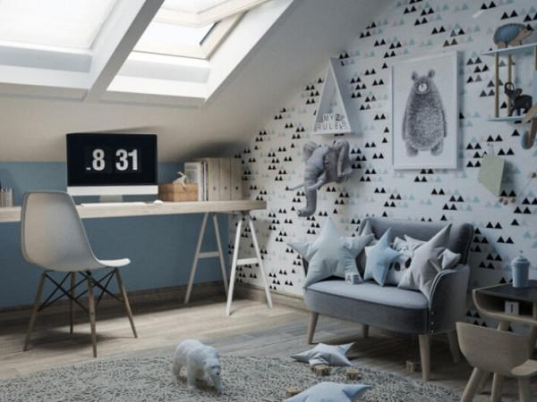 Варіант оформлення мансардної кімнати у дворівневій квартирі «Юпітера»