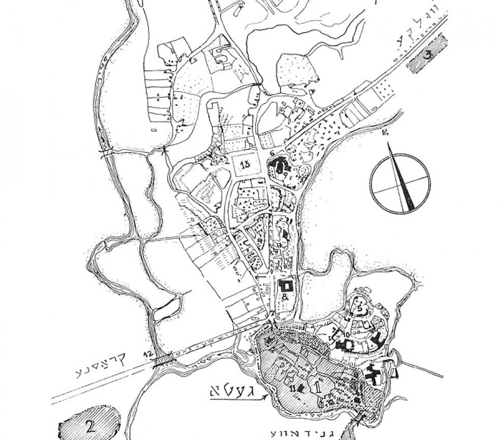 Три зони гетто на території Луцька. Карта з книги Sefer Lutsk