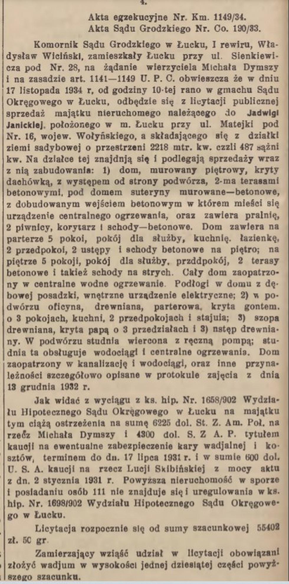 Wołyński Dziennik Wojewódzki, 14 липня 1934, №16