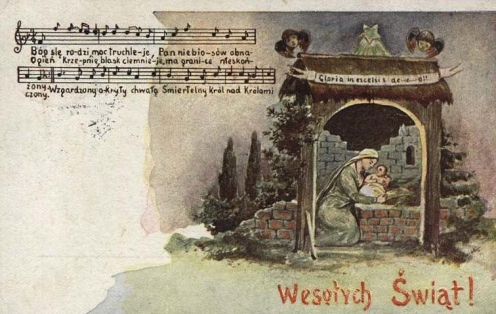 Стара польська листівка з текстом і нотами різдвяної колядки. prawicowyinternet.pl