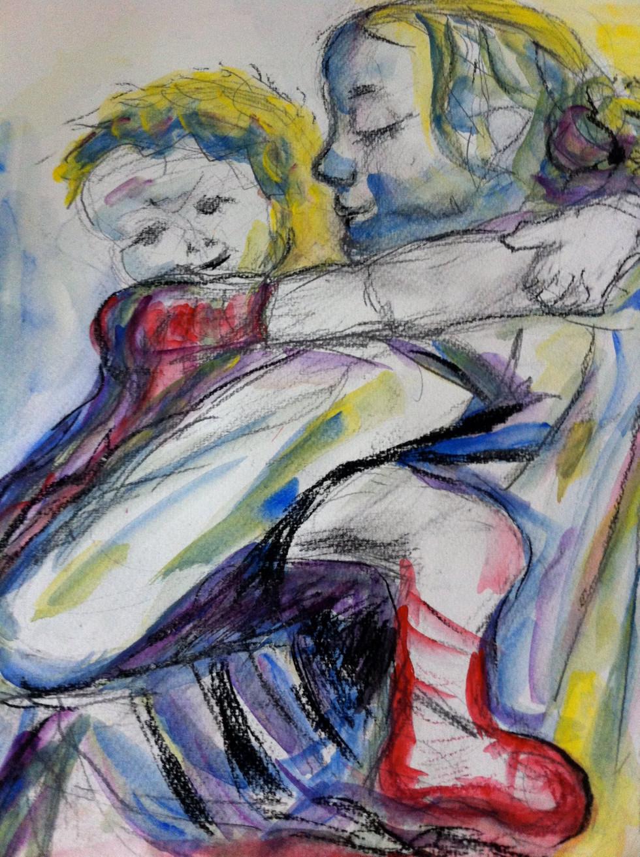 Репродукція картини Кете Кольвітц «Мама з дитиною» Марушко, воскові крейдочки