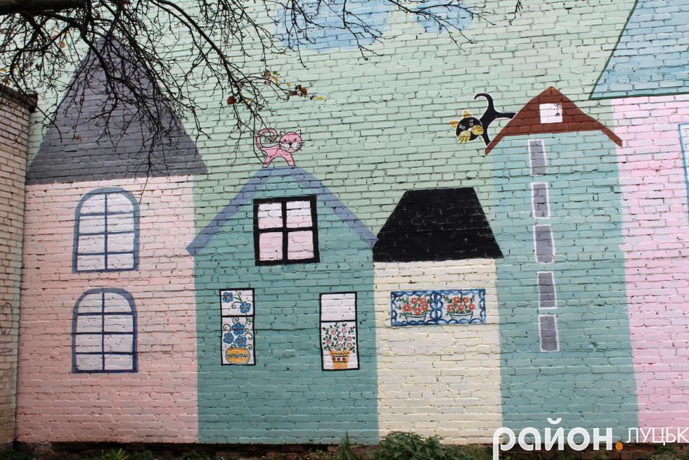 Тут мешканці зобразили будинки, на яких бігають котики