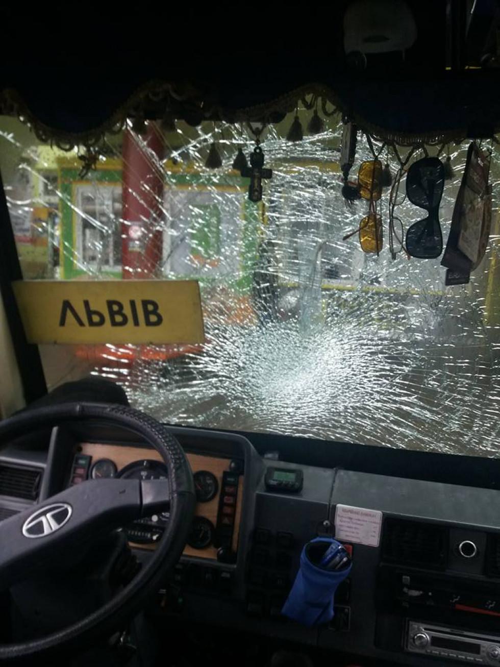 Вигляд побитого автобуса зсередини