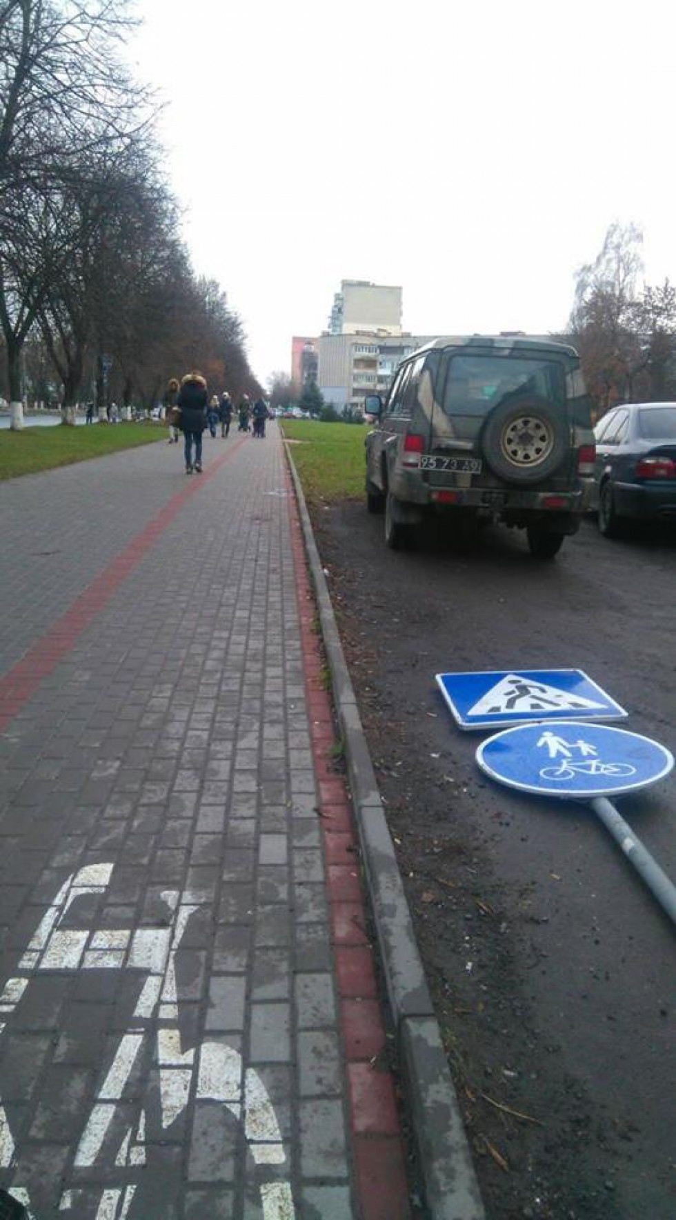 На проспекті Молоді, «відпочивають» дорожні знаки «Пішохідний перехід» і «Доріжка для пішоходів і велосипедистів»
