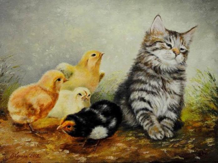 Котики на картинах луцького художника
