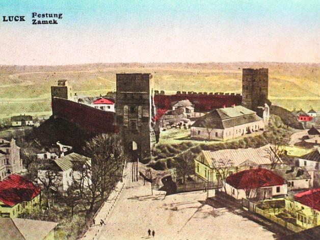 Луцький замок на поштівці Шмуля Гороховського