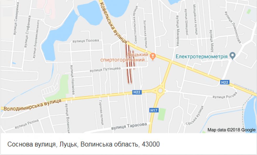 Вулиця Соснова, де жінка торгувала забороненим алкоголем, на карті
