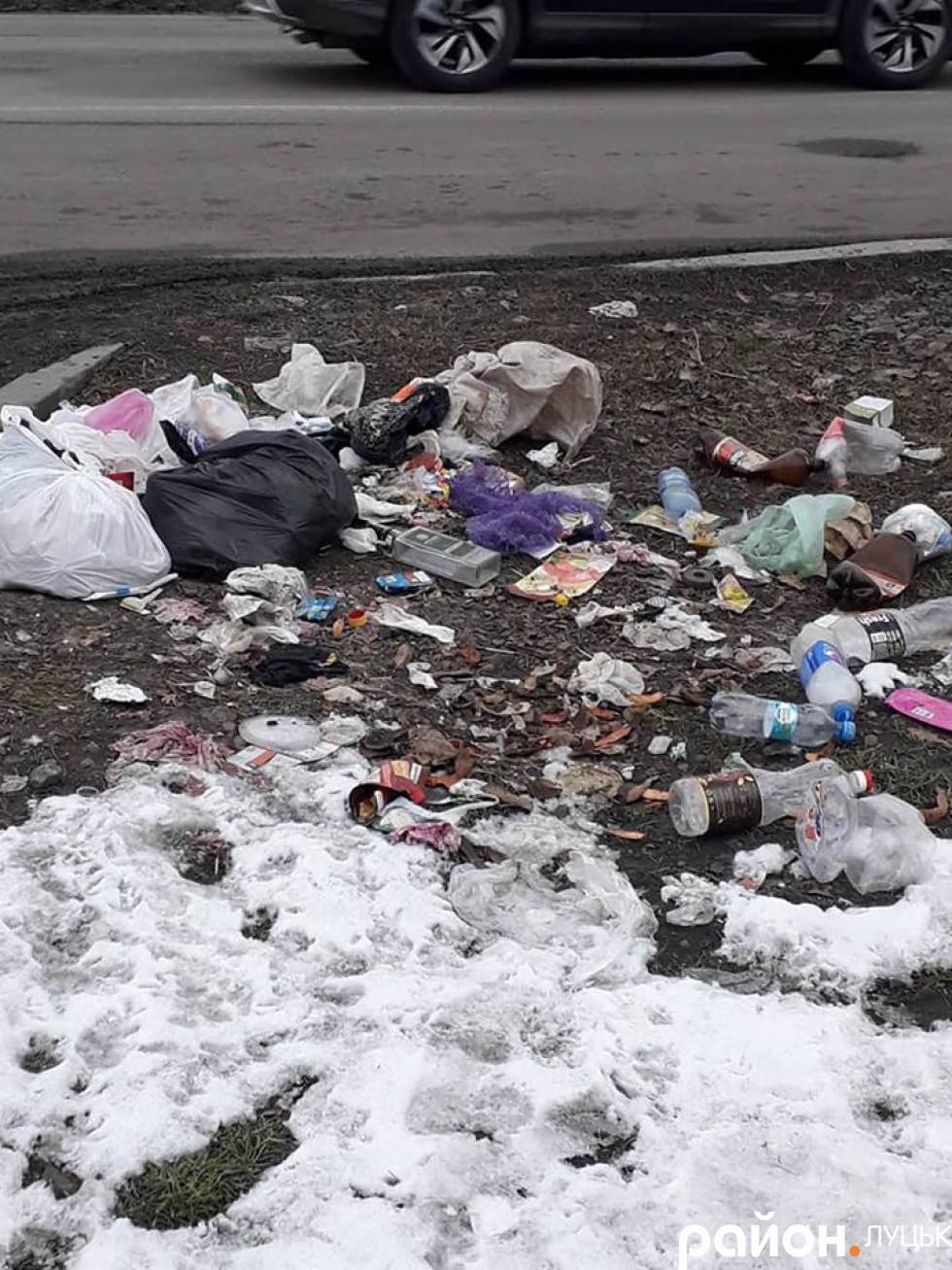 Хтось викинув сміття прямо біля дороги