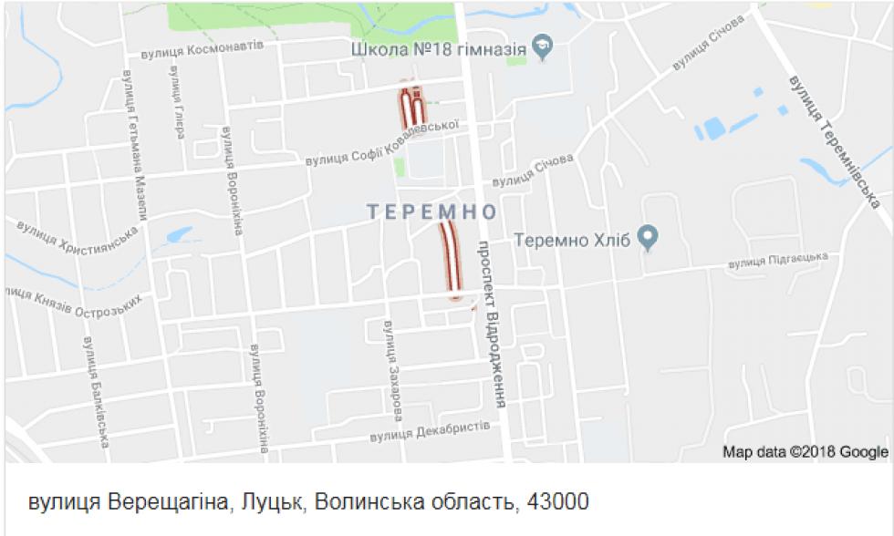 Вулиця Верещагіна на карті