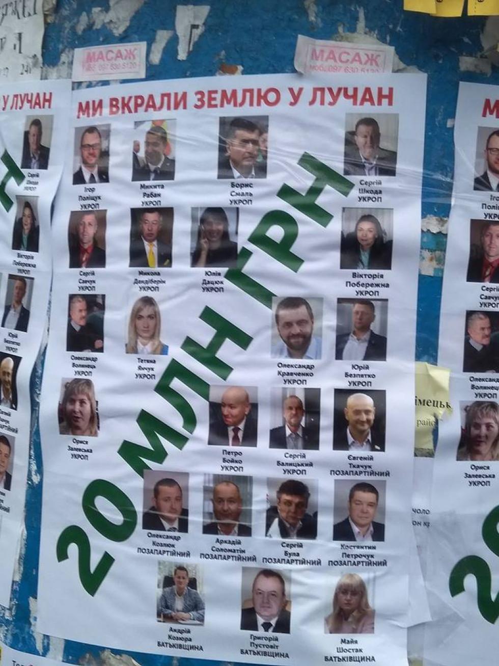 Плакат з фігурантами земельного скандалу