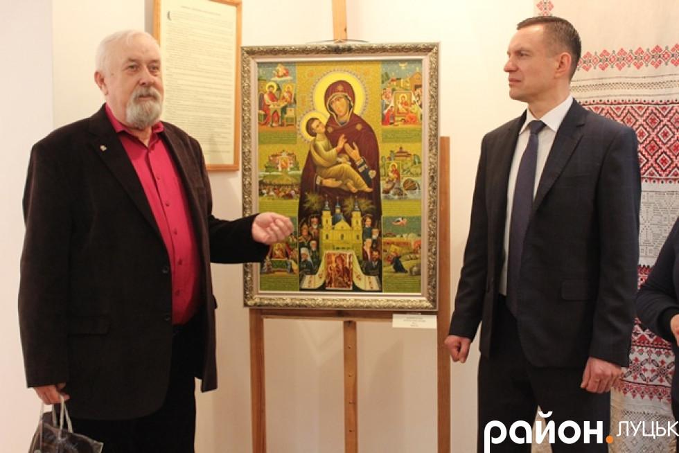 Володимир Жупанюк та Дмитро Глазунов презентують ікону