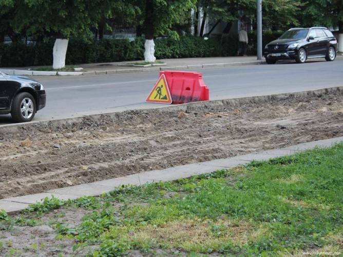 На переході, на вулиці Ветеранів розібрана бруківка