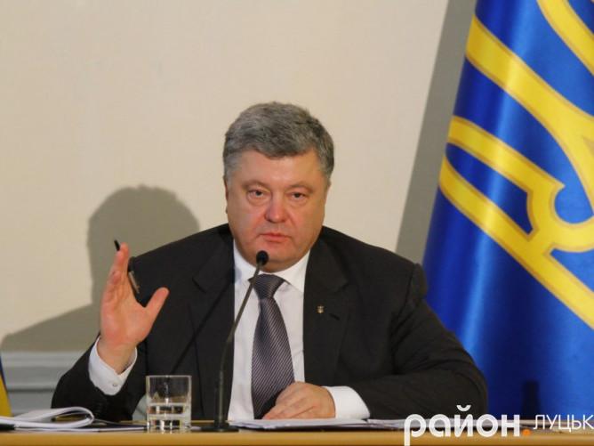 Президент України Петро Порошенко під час першого візиту до Луцька