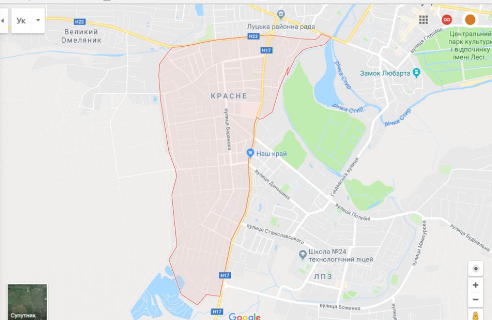 Район Красне, де сталась ДТП, на карті