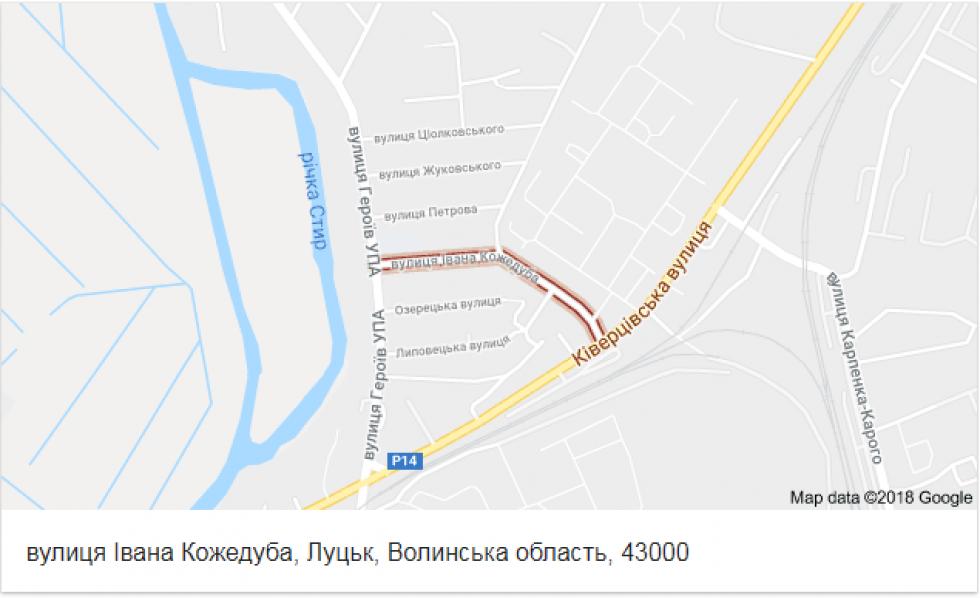 Вулиця Івана Кожедуба на карті
