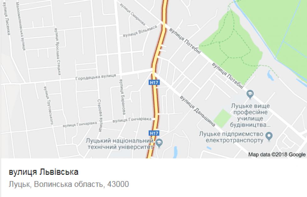 Вулиця Львівська на карті