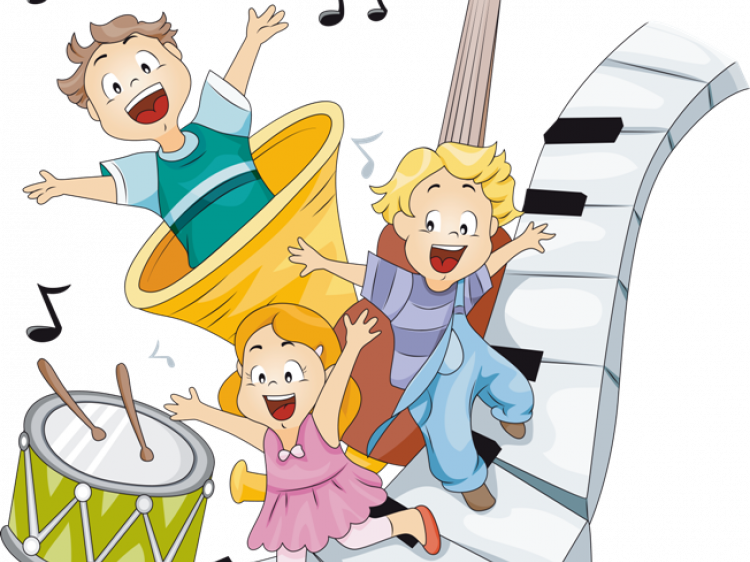 Карикатура дітей з музичними інструментами