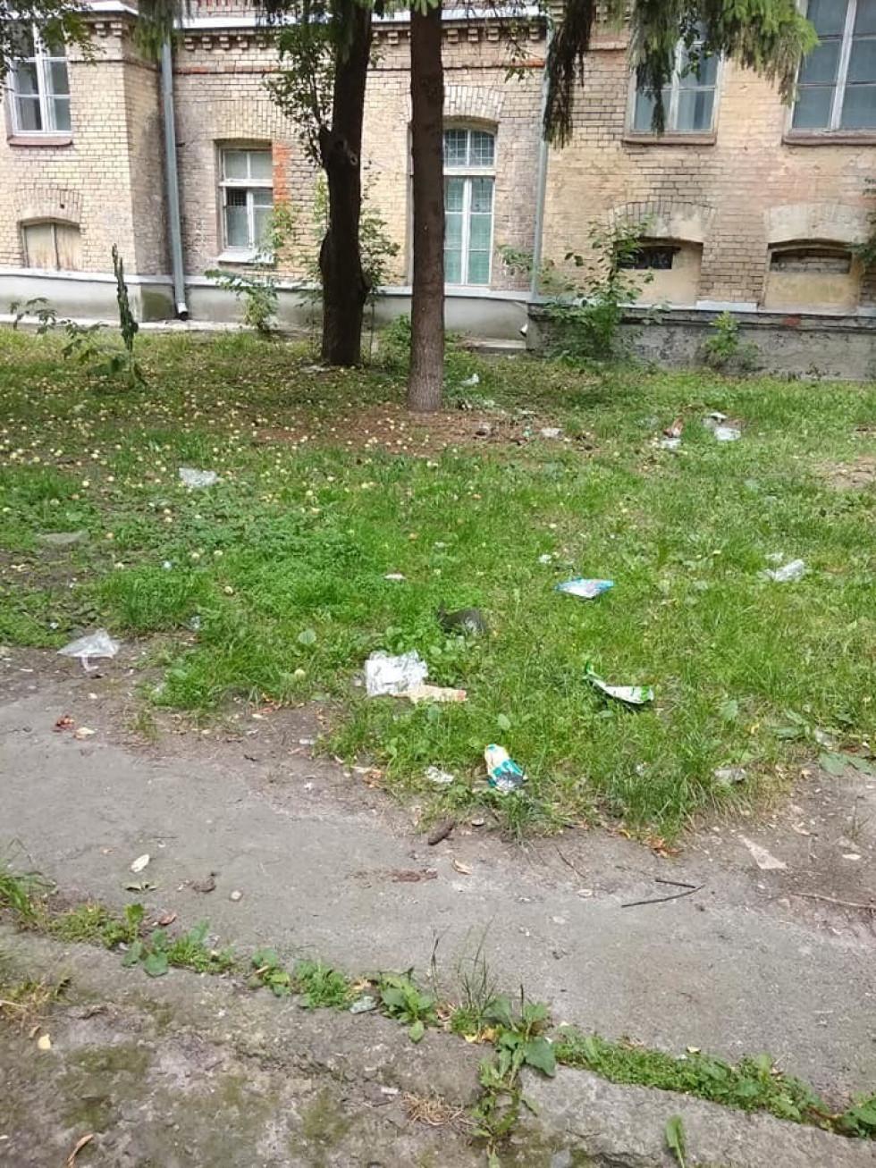 Папірці зі сміттям розкидані по всій зеленій зоні