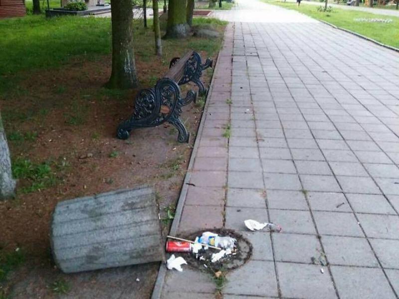 Вандали поперекидали смітники та лавки