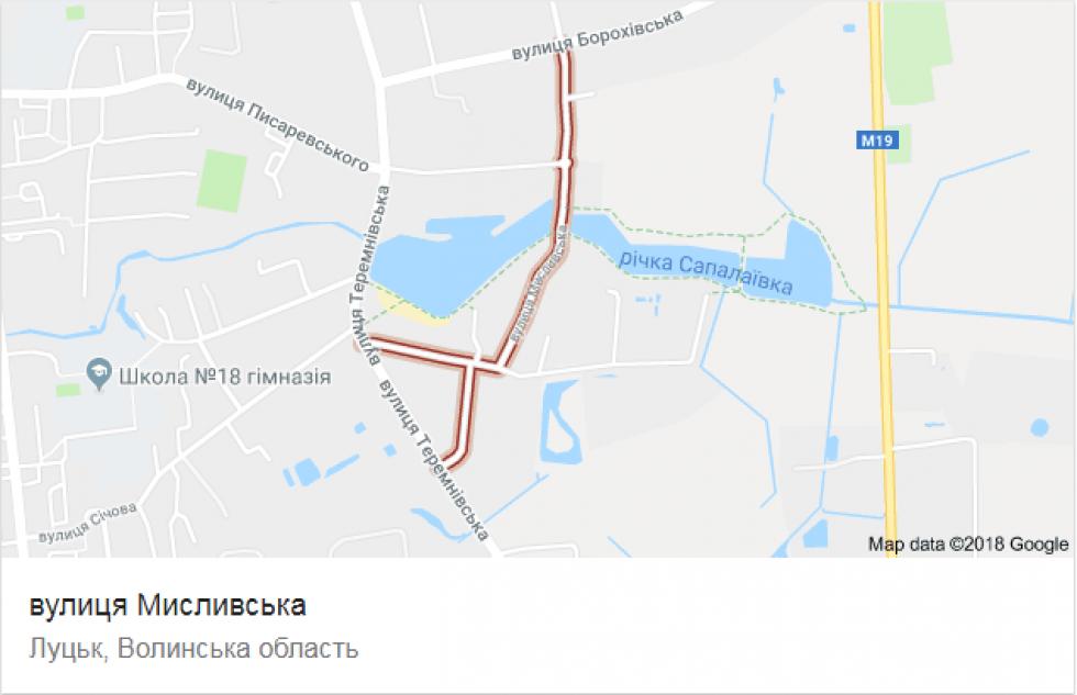 Вулиця Мисливська на карті