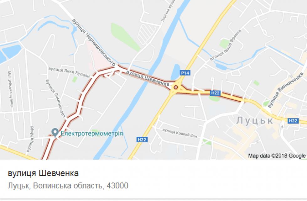 Вулиця Шевченка на карті