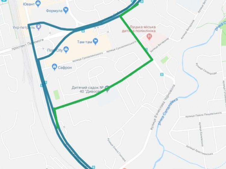 Карта зміни маршруту.