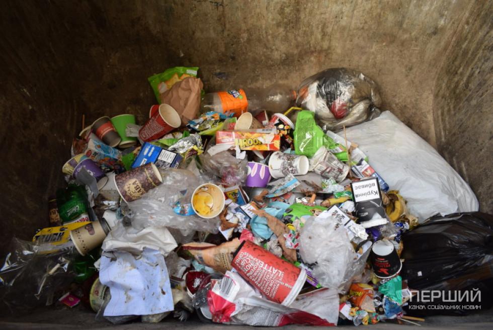 Вміст контейнера для сухих відходів