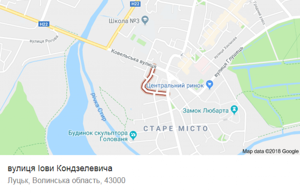 Вулиця Йова Конзелевича на карті