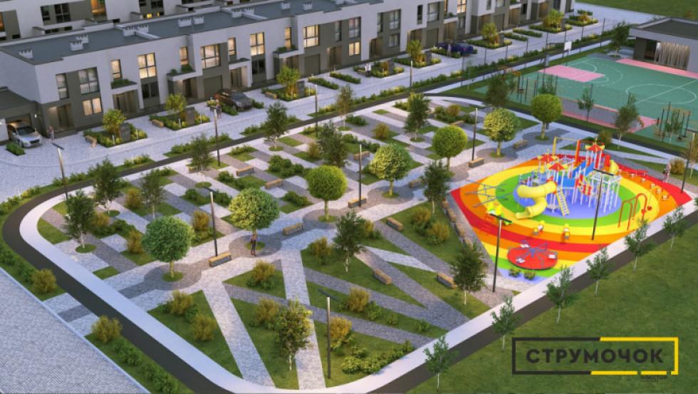 Загальний проект ЖК з великим дитячим майданчиком, сквером та спортивним полем