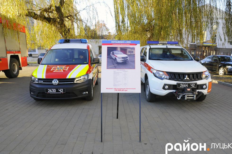 Перед драмтеатром показують сучасні автомобілі оперативних служб на Волині