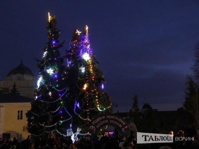 новорічні ялинки в центрі Луцька