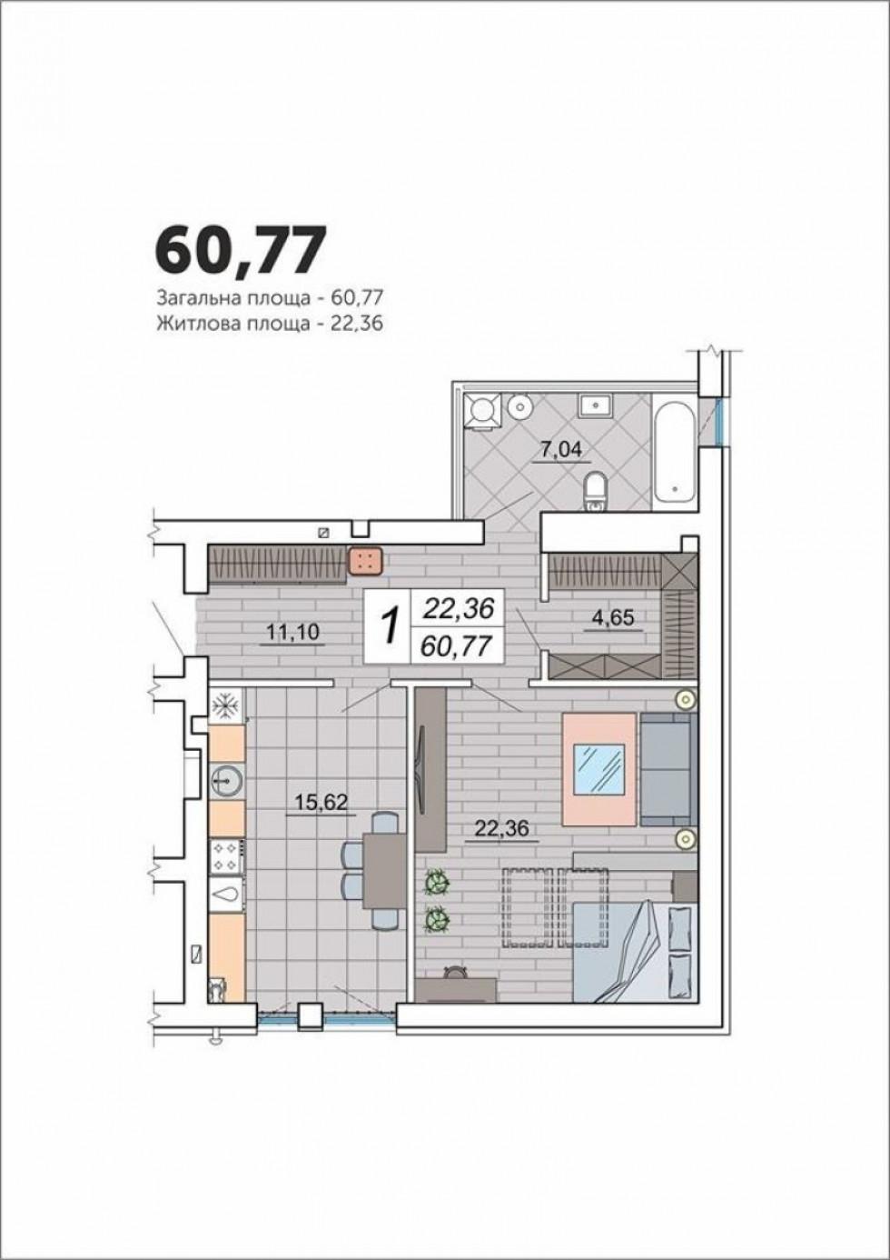 Планування мансардної квартири у ЖК «Юпітер»