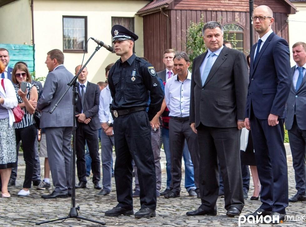 Візит урядового десанту до Луцька, коли було оголошено про створення місцевої патрульної поліції. Липень, 2015 рік
