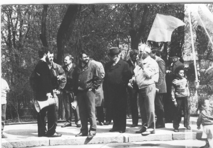 О. Юрченко та Г. Кожевніков на мітингу