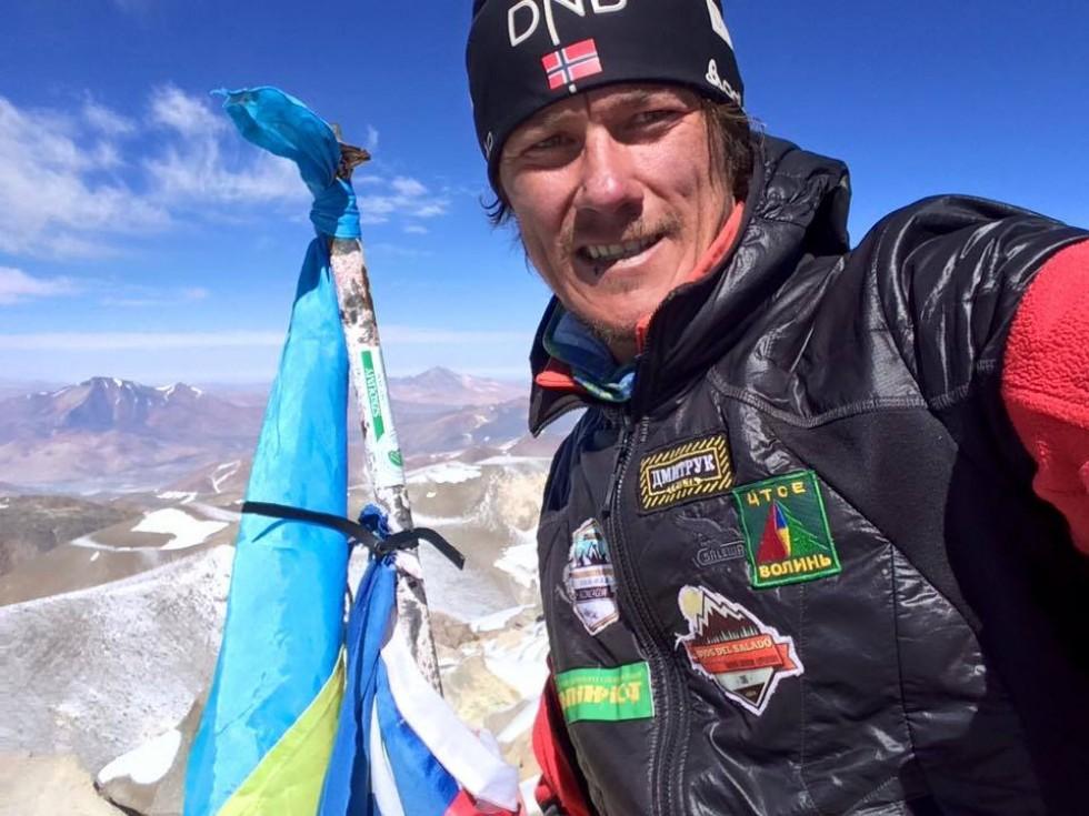 Олександр Оришко на вершині вулкану Охос-дель-Саладо