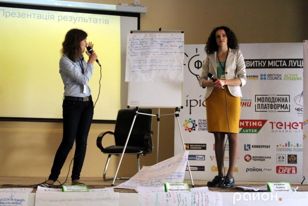 Яна Романюк та Світлана Мілінчук презентували напрацювання учасників форуму за темою освіти та розвитку молоді